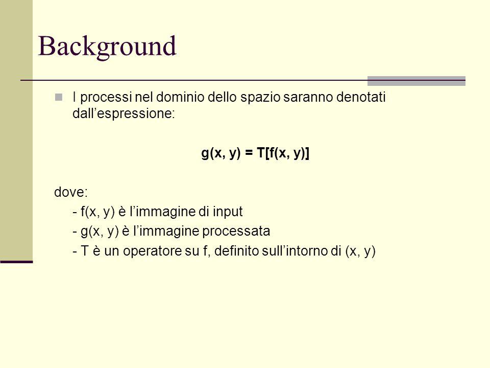 Background I processi nel dominio dello spazio saranno denotati dall'espressione: g(x, y) = T[f(x, y)]